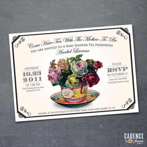 Baby Shower Invitation, Bridal Shower Invitation, Tea Party Invitation