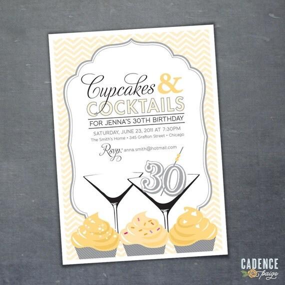 29th 30th 40th 50th Birthday Party Invitation Cupcakes