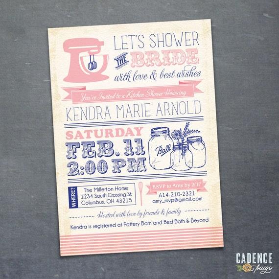 Kitchen Shower Invitation, Mason Jar Invitation, Bridal Shower Invitation (PRINTABLE)