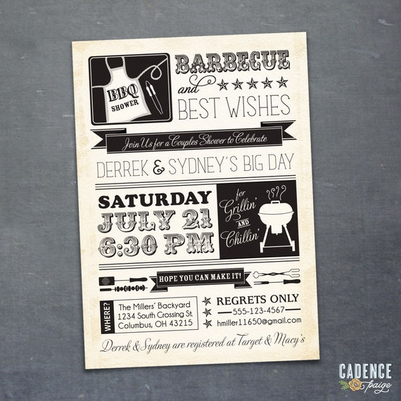 Coed Shower, BBQ, Bridal Shower, Couples Shower (PRINTABLE)