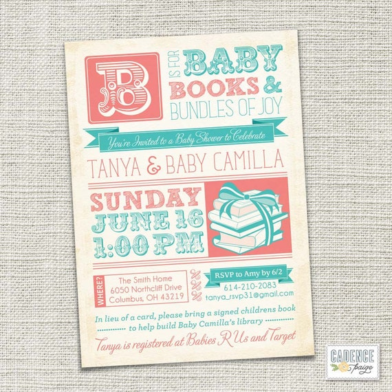 Book Shower Invitation, Baby Shower Invitation, Vintage Baby Shower Invitation (PRINTABLE)