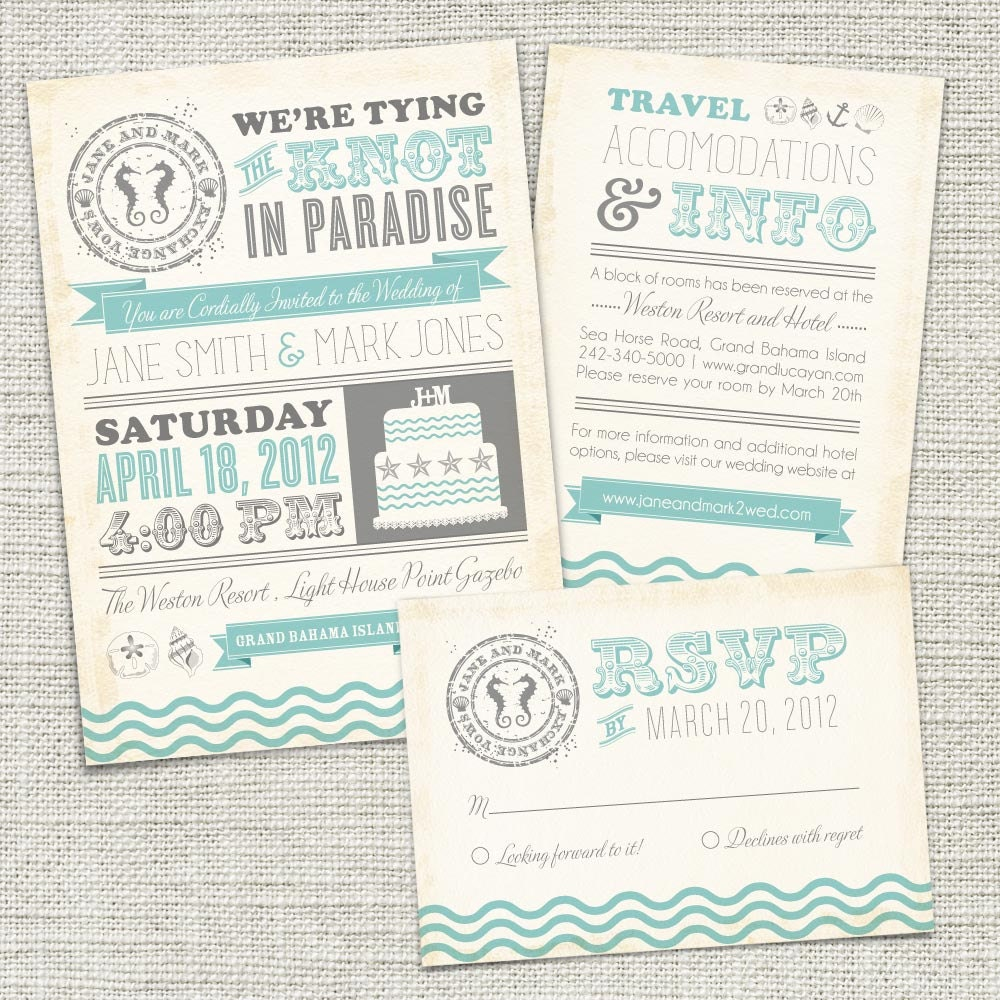 Printable Wedding Invitations: Vintage Beach Wedding Invitation PRINTABLE