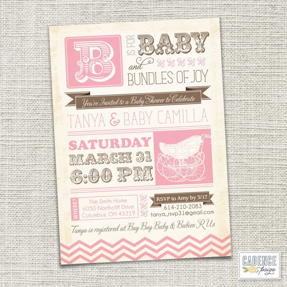 Baby Shower Invitation Baby Carriage Vintage Baby Shower