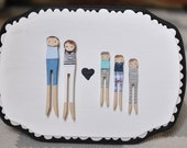 Personalized Family Plaque . Custom Pin Family.