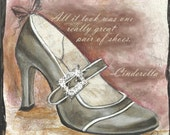 """12"""" Fancy Shoe Print with Rhinestone Buckle and CINDERELLA Quote on Hand Rusted Rings or Black Grosgrain Ribbon"""