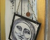 Black and White Moon Beaded & Charmed Ornament Wine Bottle Tag