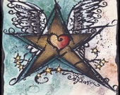 Children's Room Wall Art Funky Rockstar with Heart and Wings Print