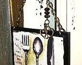 "Charmed 3.5"" LOVE EACHOTHER Silverware Print/Ornament/Wine Bottle Hanger with Madeline Prayer"