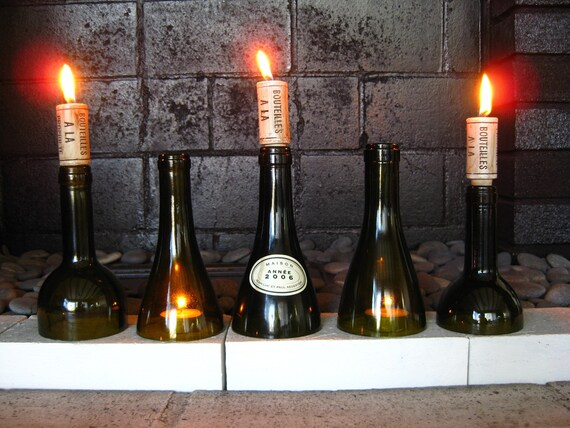 Items Similar To Green Wine Bottle Candle Holders On Etsy