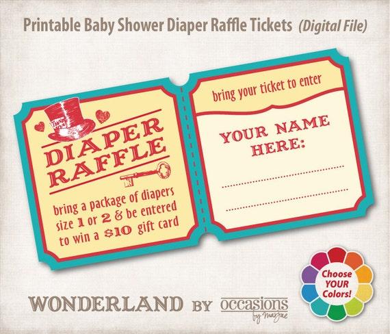 Baby Shower Diaper Raffle Tickets, Digital File, Wonderland