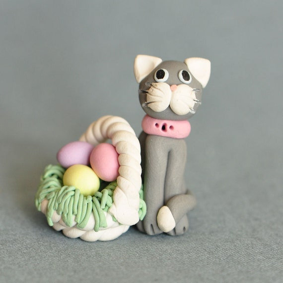 Miniature Clay Easter Cat with Basket