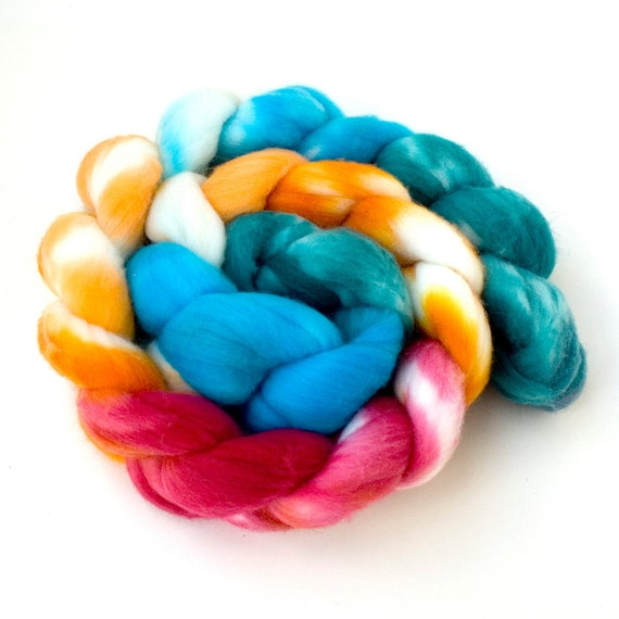 "Hand-dyed Combed Top (Roving) Spinning Faux, Fake, Vegan Cashmere Fiber- ""Koi Fish"" 4 ounces"