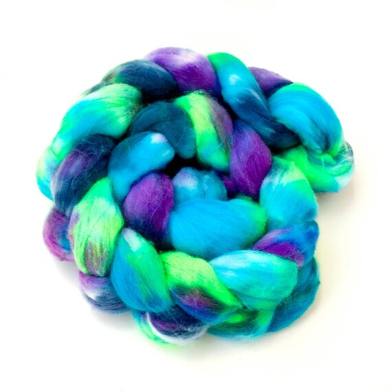 """Hand-dyed Combed Top (Roving) Spinning Faux, Fake, Vegan Cashmere Fiber- """"Opening Night"""" 4 ounces"""