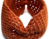 Wide Crocheted Headband, orange
