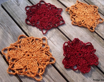 Crocheted flower coasters, a set of 4