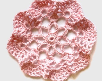 Crocheted Pink Doily