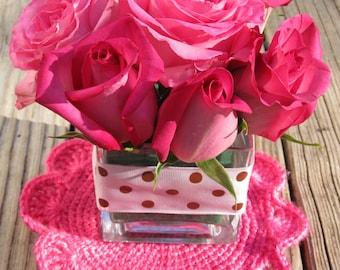 Hand-made Rose Coaster, a set of 2