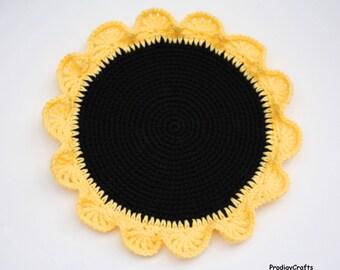 Small Sunflower Pot Holder, crocheted, hand-made