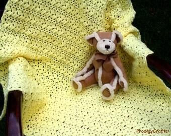 Crocheted Pastel Yellow Blanket