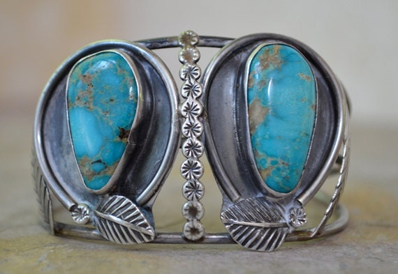 Large Vintage Silver and Turquoise Cuff