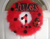 Ladybug Marabou Birthday Wreath