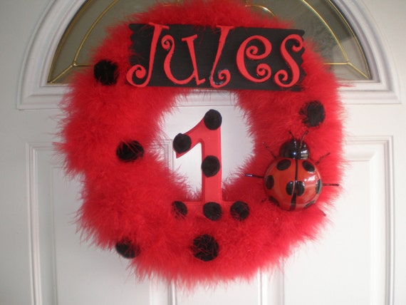 Ladybug Marabou Birthday Wreath by Frosting4Jules on Etsy