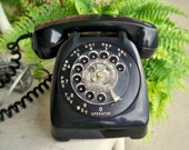 1950's Vintage Black Phone wired for modern wall jack