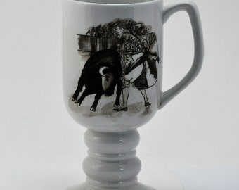 Ceramic Mug with Matador and Bull - Ornate Hispanic Drawing - Vintage 1965