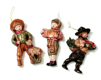 Vintage Christmas Ornaments - Caroling Children Christmas Tree Ornaments - Holiday Decor
