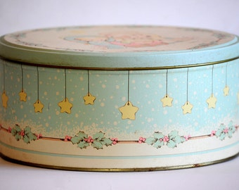 Vintage Round Children's Keepsake Tin - Pastel Colored Nativity Baby Box