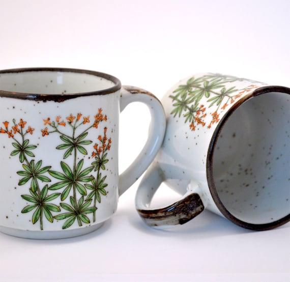 Flowers and Herbal Blossom Tea Mugs - Vintage Ceramic Cups Set of 2
