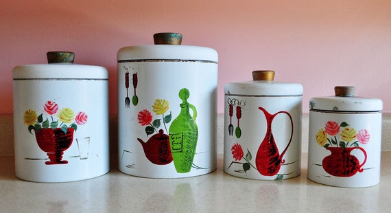 Country Kitchen Tin Canisters Roses And Teapot Designs