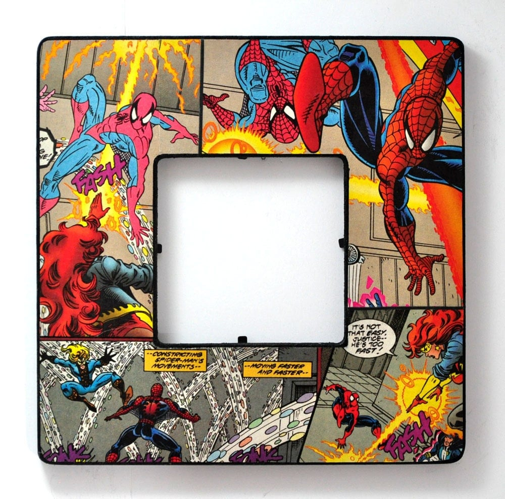 Spiderman Picture Frame Decoupaged With Recycled Comic Book