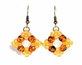 Yellow Diamond Shaped Earrings, Topaz and Amber Yellow, Beadwoven Earrings, Beaded Dangle Earrings, Seed Bead Drop Earrings, Women's Jewelry