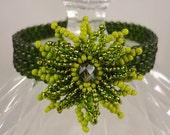 Beaded Flower Bracelet, Green Flower Bracelet, Bead Woven Bracelet, Seed Bead Bracelet, St Patricks Day Bracelet, Women's Beadwork Jewelry