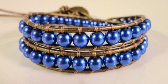 Blue Pearl Wrap Bracelet, Cobalt Blue Beaded Bracelet, Leather Wrap, Glass Pearl Cuff, Double Wrap, Beadwork Bracelet, Women's Jewelry