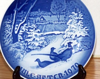B&G Bing  Grondahl Copenhagen Annual Porcelain Plate -Pheasants in the Snow at Christmas