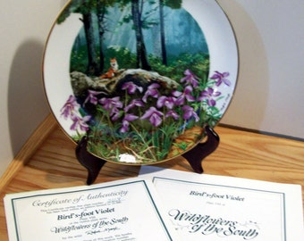 Royal Windsor Wildflowers of the South Bird's-foot Violet Limited Edition Collector Plate