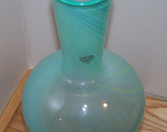 Vintage Teal Dansk Mid 70s Hand blown Art Glass - Long Neck Globular Vase