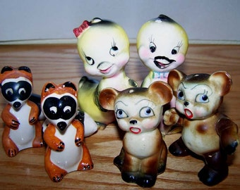 Variety of Vintage Japanese Anthropomorphic Salt and Pepper Shakers