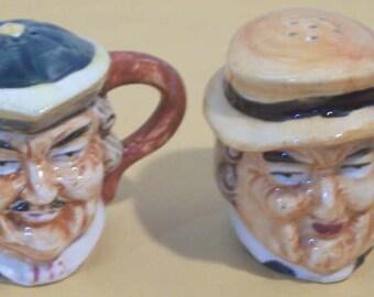 Handpainted Ceramic Salt and Pepper Shakers Resembling Toby Mugs