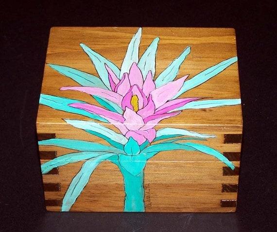 Handpainted Wooden Keepsake Box With Tropical Flower