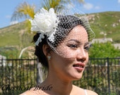 "Mini 906 -- VEIL SET w/ ""PEONY"" Flower Feather Fascinator Hair Clip & Ivory or White Birdcage Blusher 6"" Veil for bridal wedding"