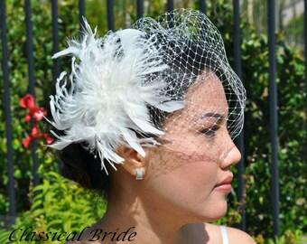 "Mini 801 -- VEIL SET w/ PEARL Feather Fascinator Hair Clip & Ivory or White Birdcage Blusher 6"" Veil for bridal wedding"