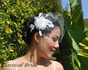 "Mini 900 -- VEIL SET w/ PEARL Feather Flower Fascinator Hair Clip & Ivory or White Birdcage Blusher 6"" Veil for bridal wedding"