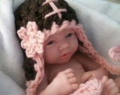 Baby Girl's Football Hat w/ Flower & Earflaps  - NEW, IMPROVED Ties, See Inside  -   Many Sizes - Preemie, Newborn, Infant