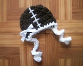 Football  Baby Girl's Hat w/ Earflaps, Brown and White  -   Many Sizes - Preemie, Newborn, Infant