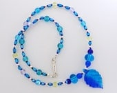 Turquoise and blue beaded glass leaf necklace