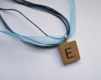 Personalised wooden Scrabble tile initial necklace - choose your letter
