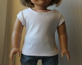 Plain White Tee Shirt for American Girl or Other 18 Inch Doll